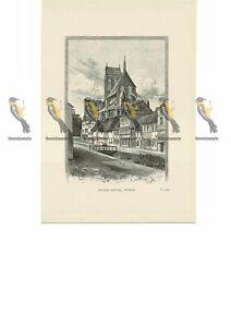 Nicolai-Kirche-Wismar-Germany-Book-Illustration-Print-1889