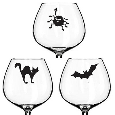 12 x , Wine Champagne Beer glass,vinyl sticker decal , HALLOWEEN