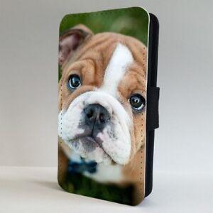 Dettagli su British Bulldog cucciolo carino Flip Telefono Case Cover per IPHONE SAMSUNG- mostra il titolo originale
