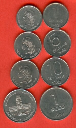 10 centavos  issue 1983 and 1 peso issue 1984 UNC ARGENTINA 1-5