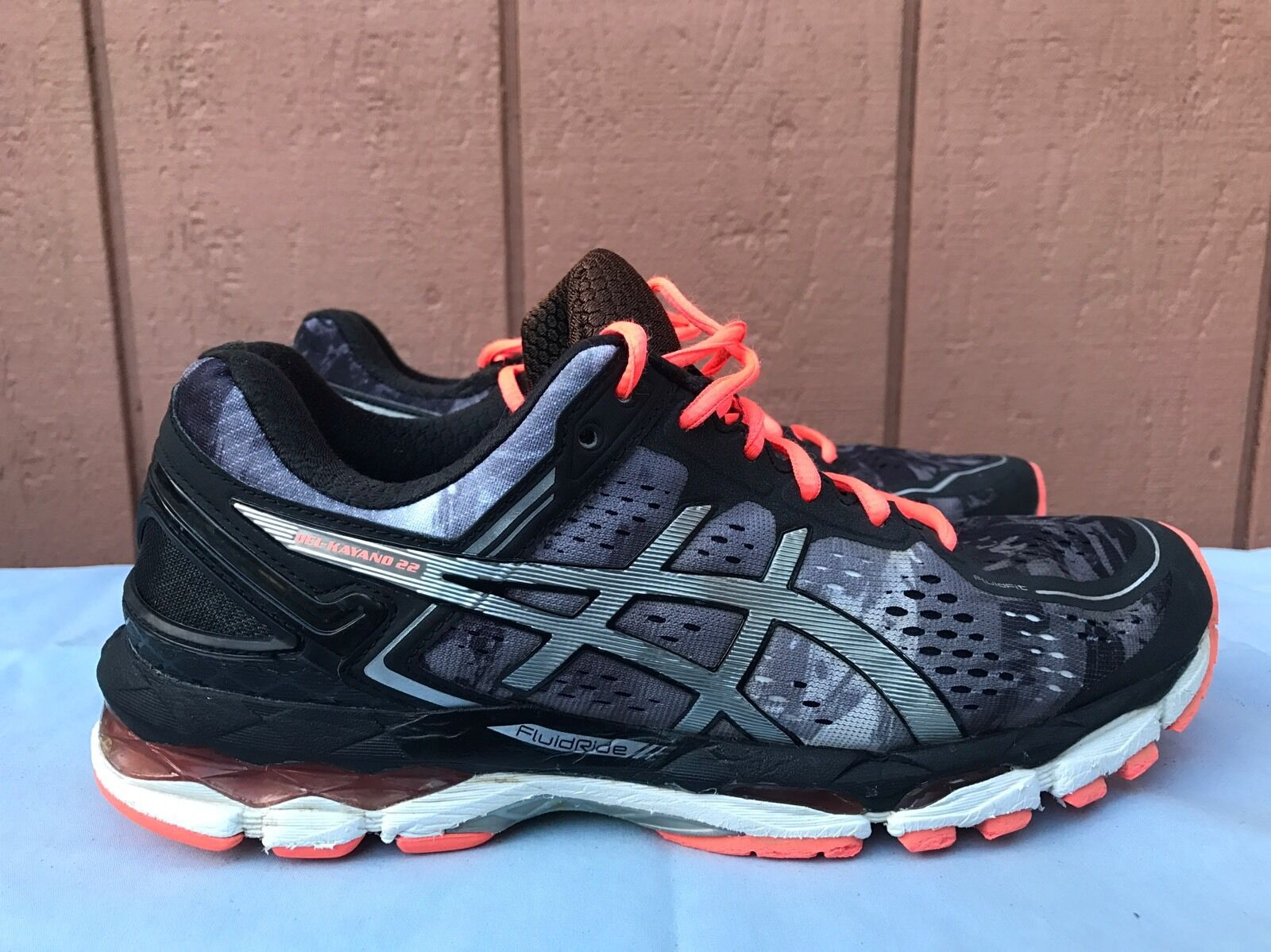 EUC Asics T597N Gel-Kayano 22 Supportive Running Black/Coral Women US 9  Casual wild