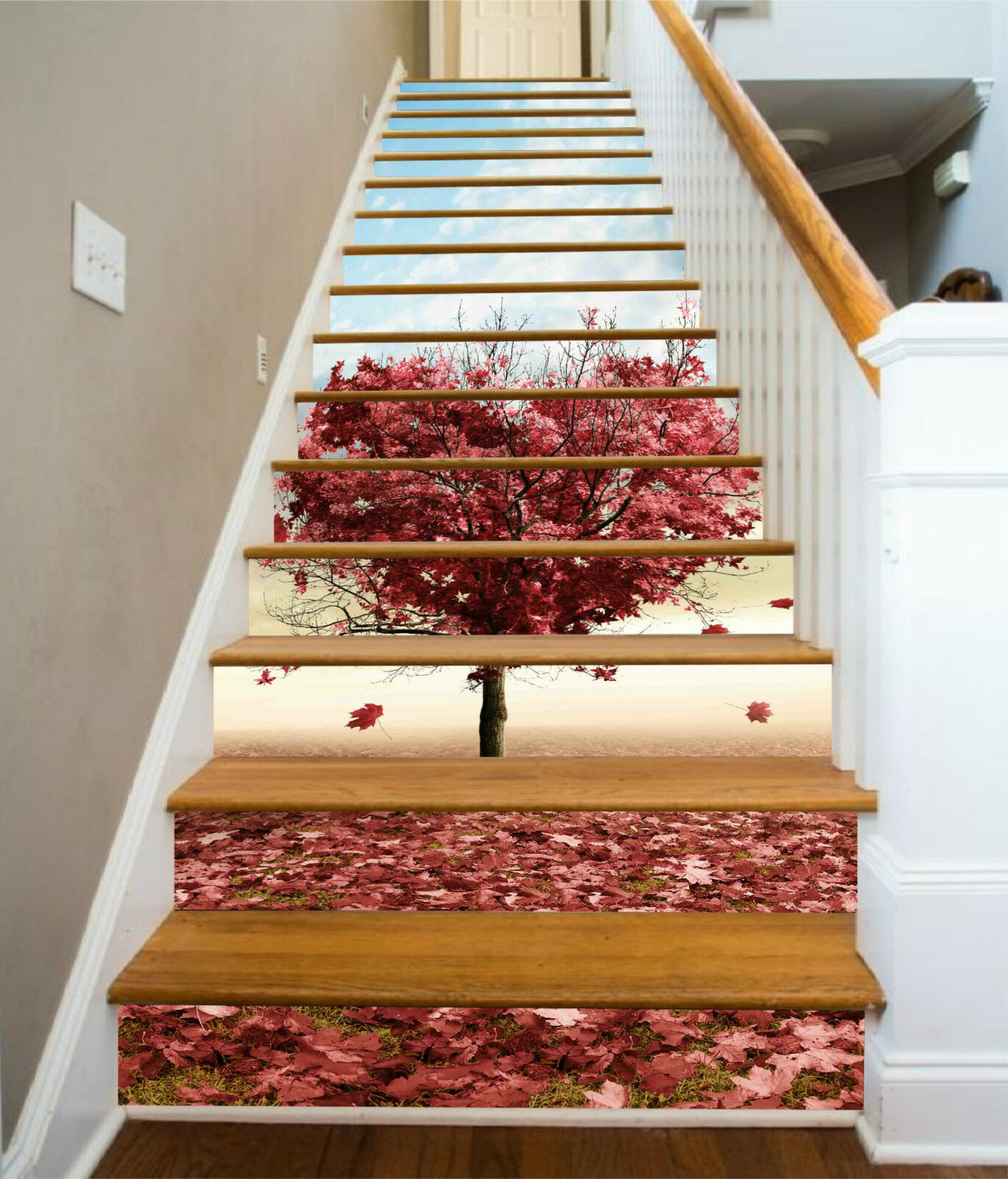 3D Roter Baum 0031 Stair Risers Dekoration Fototapete Vinyl Aufkleber Tapete DE