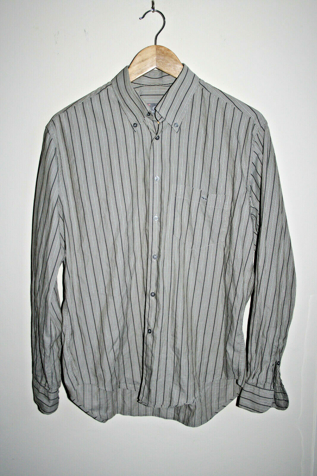 Lacoste Fashion Designer Striped Grey Men's Long Sleeve Shirt Cotton Casual 40