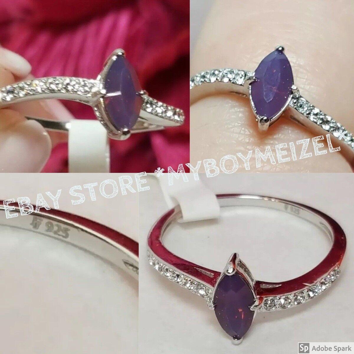 Fragrant Jewels Satin Infinity .925 Sterling Swarovski Sz 8 Unique Petite Purple