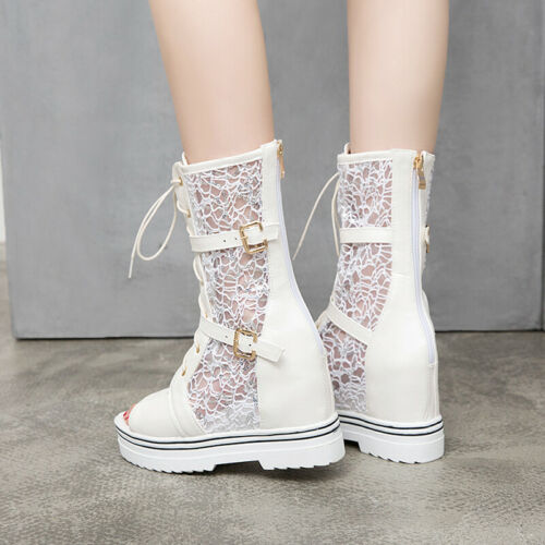 Mesh Sandals Summer Boots Women/'s Mesh Shoes High Wedge Heels Hidden Heels