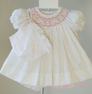 NWT-Petit-Ami-Smocked-Rose-Bud-Ivory-Dress-Newborn-3-6-months-Girls-w-bonnet