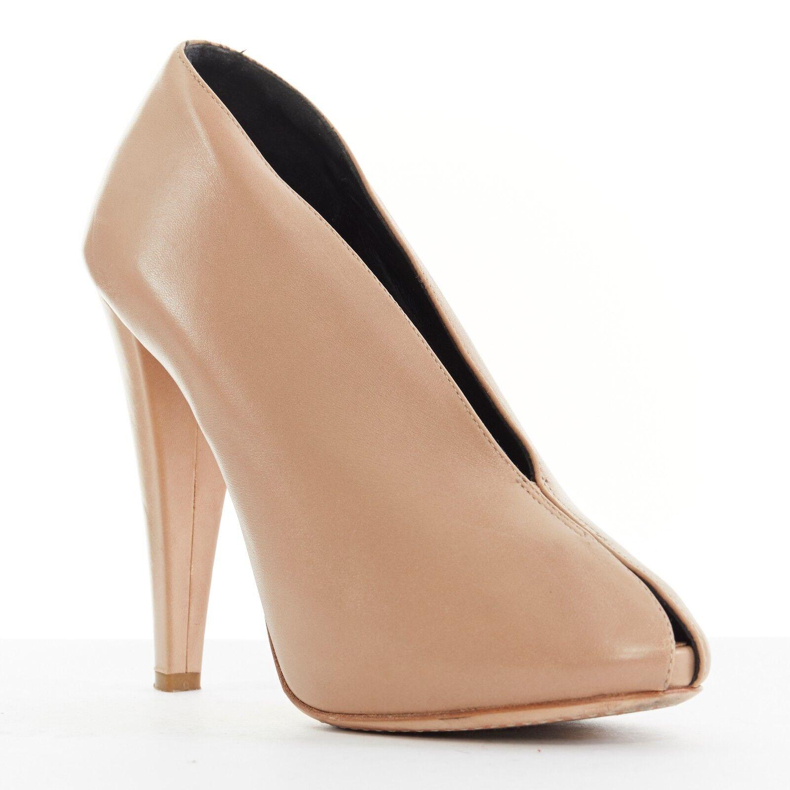 preferenziale CELINE PHILO nude soft leather V-neck slit peeptoe peeptoe peeptoe chunky high heel EU37 US7 UK4  negozio di vendita outlet