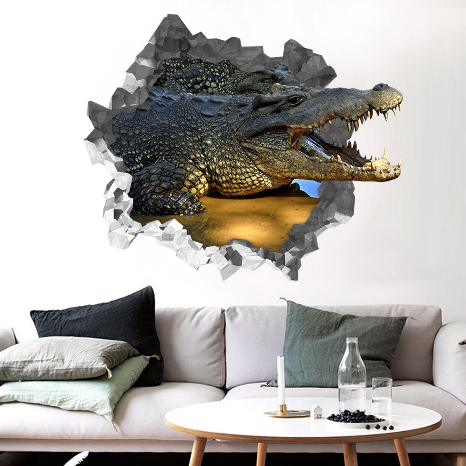 3D Grande Coccodrillo 362 Parete Murales Parete Adesivi Decal Sfondamento IT