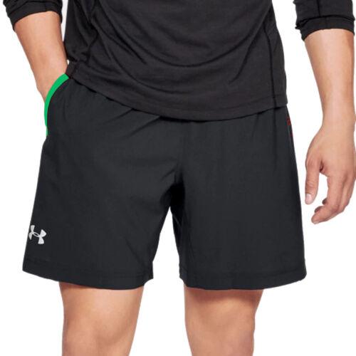 Under Armour UA HeatGear pour Homme Lancer SW 2 en 1 noir graphique shorts de course L