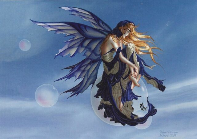 BLUE DREAM Fairy Postcard faery post card Nene Thomas bubble rider faerie