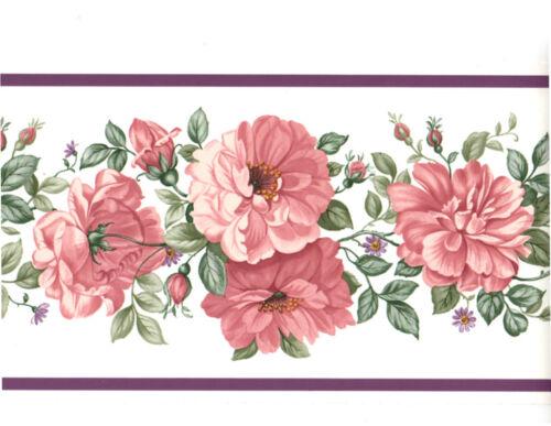 Mauve Pink Rose Vine Garland Lavender Purple Band Wall paper Border EH99869
