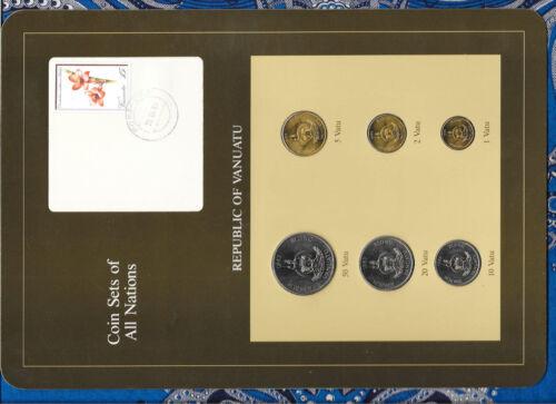 2 5 10 1 Vatu 20 Coin Sets of All Nations Vanuatu all 1983 UNC w//card 50