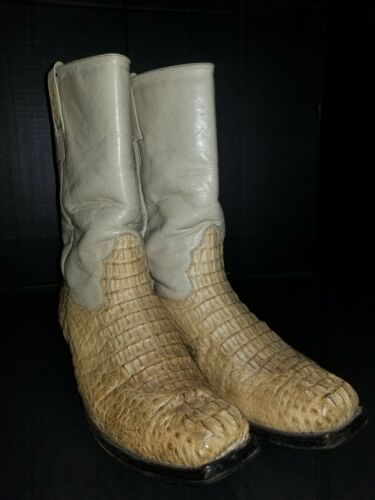 Rodeo Cowboy Boots Square Toe Crocodile beige 1990