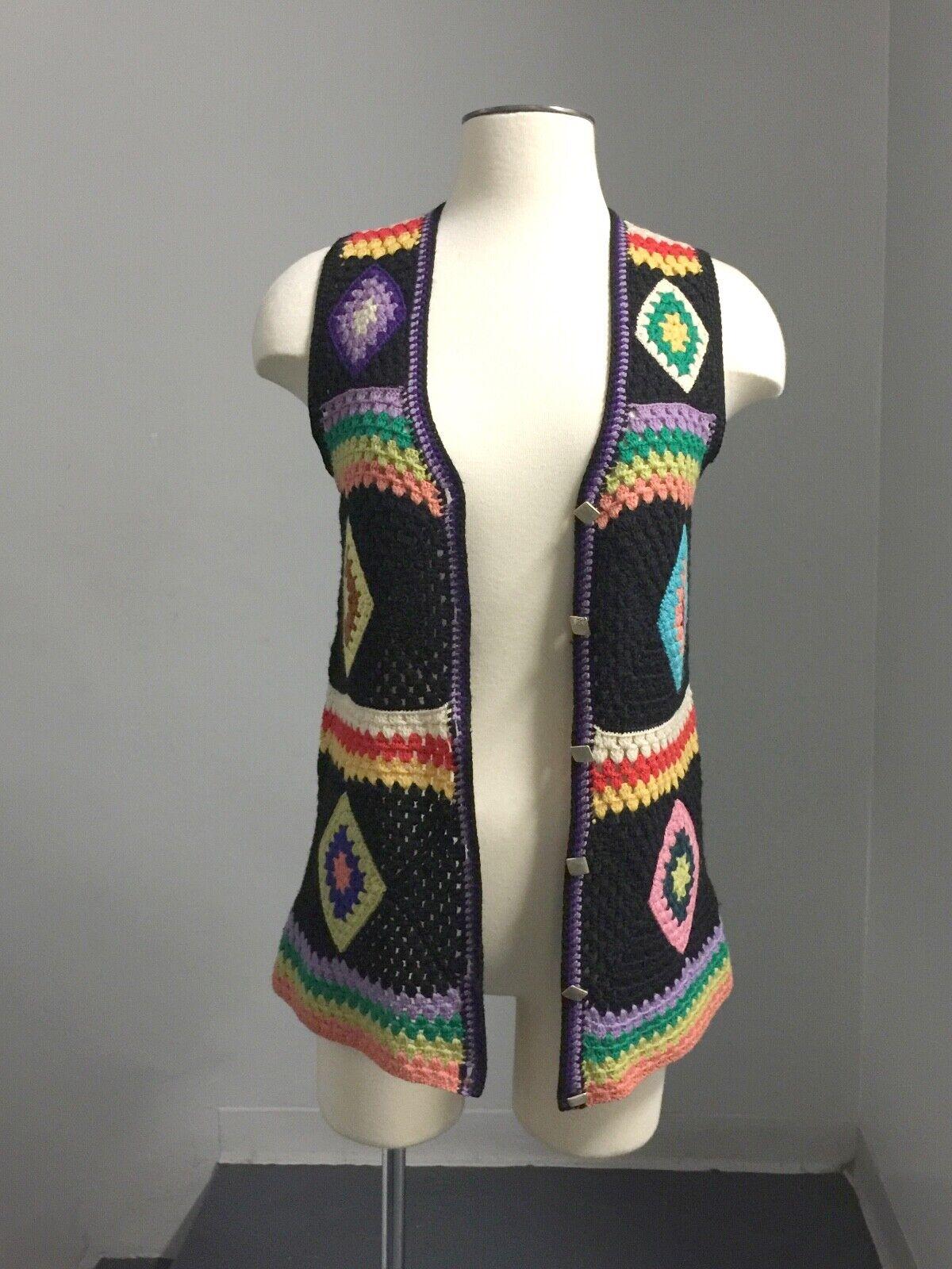 Vintage 70s Wool Handknit Crochet Black Multicolo… - image 5