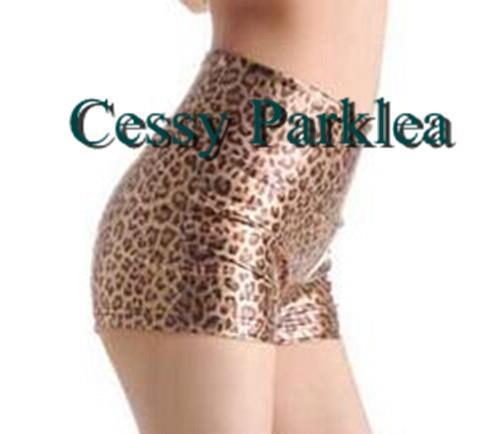Black Leopard Print Wet Look Faux Leather Banded Short Hot Pant S-L AU6-12 26-30