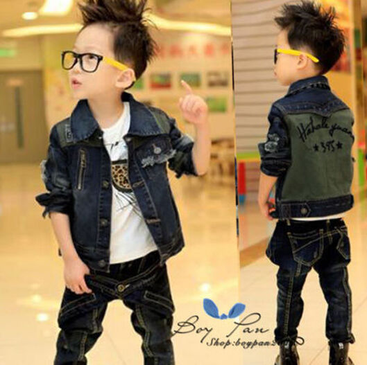 Lastest Fashion Kids Toddler Clothes Boys Jean Long Sleeves Coat Jacket Sz4-9Y