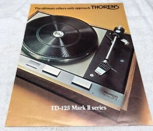 Details about THORENS TD-125 MARK II SERIES TURNTABLE ORIGINAL COLOR AD  BROCHURE M349