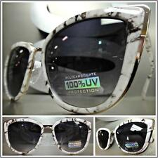 CLASSIC VINTAGE RETRO CAT EYE Style SUN GLASSES Rare White Marble Fashion Frame