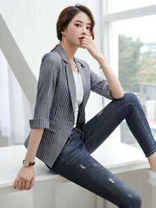 Women-039-s-One-Button-Spring-Suit-Jacket-Lapel-Coat-Outdoor-Overwear-Casual-Blazer