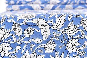 2-5-Yard-Printed-Fabric-Hand-Block-Print-100-Cotton-Fabric-Indian-Indigo-Blue