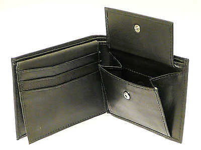 Black Leather Wallet - Holds 6 Credit Cards, 1 ID Card, Coins & Notes