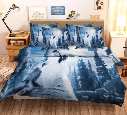 3D Wolf Moon Forest 7 Bed Pillowcases Quilt Duvet Cover Set Single Queen AU