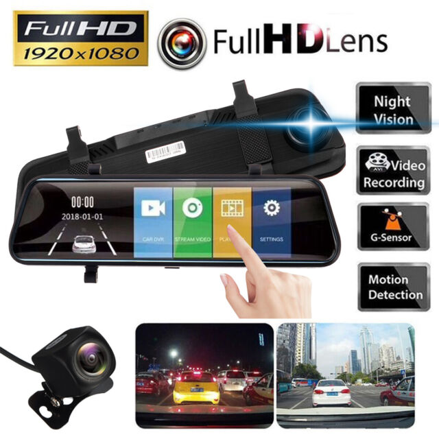 "10/"" 1080P Touch Screen Dual Lens Stream Media Car Rearview Mirror DVR Camera"