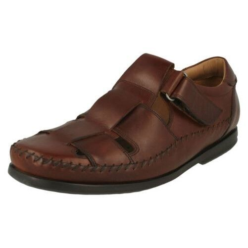 Mens Clarks Casual Hook & Loop Leather Strapped Sandals Un Gala Strap