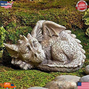 Sleeping Dragon Garden Statue Mythical Baby Dragon Decor Outdoor Yard Lawn Home