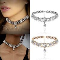 Wedding Bride Necklace Crystal Choker Chunky Chain Bib Statement Collar Jewelry