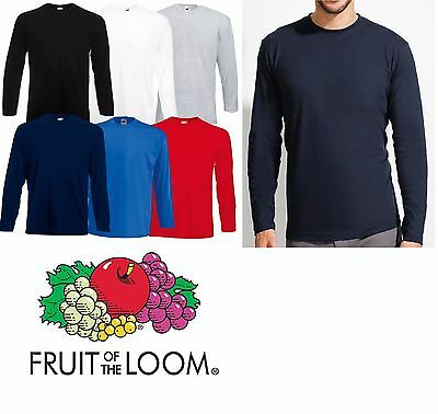 Einfarbig T-shirt Langärmlig FRUIT OF THE LOOM Rundhals T-shirt Top Neu