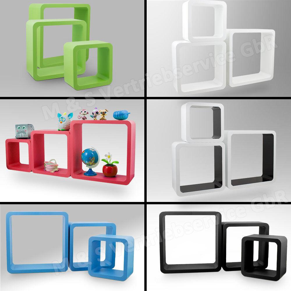 3 teilig Wandregal Kinder Würfel Cube Retro Vintage