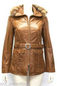 Smart Designer Tan Leather Chic Jacket Hooded Real Tyra Woman's Glazed Ladies tAxIIdB