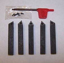 """1/4"""" 5 PC INDEXABLE Carbide Insert Tool Bit Fits Sherline Craftsman Atlas Lathes"""