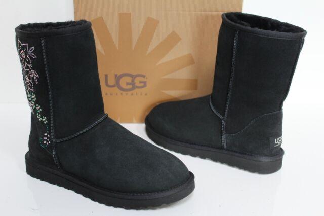 f1353d49df3 UGG Australia 5825 Black 7 Classic Short Crystal Women Suede Sheepskin Boot  US 7