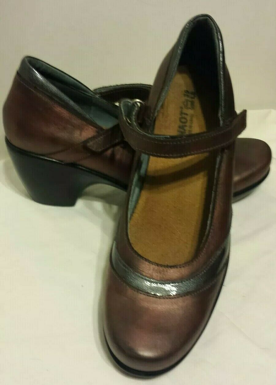 EUC Naot Copper Leather - Pewter Patent Accent Mary Janes 8 US Heels FREE SHIP