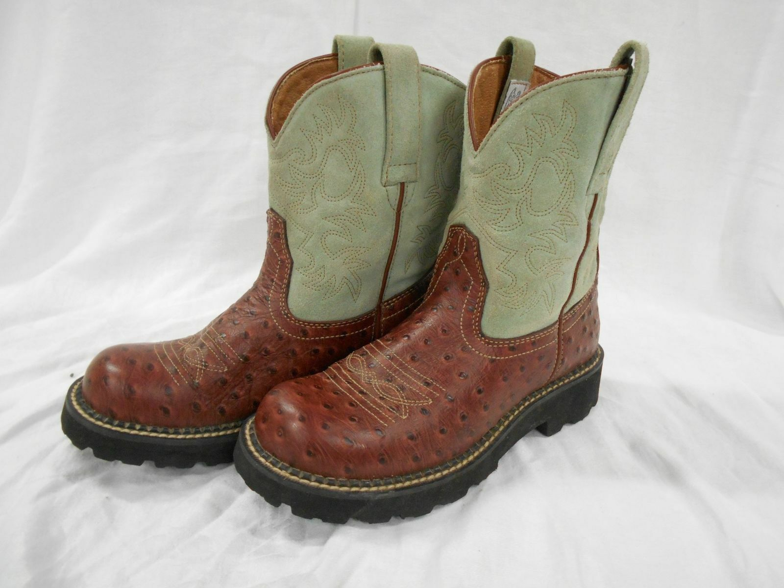 FATBABY ARIAT OSTRICH PRINT women TEAL GREEN SUEDE leather Cowboy Boots SZ 7.5 B