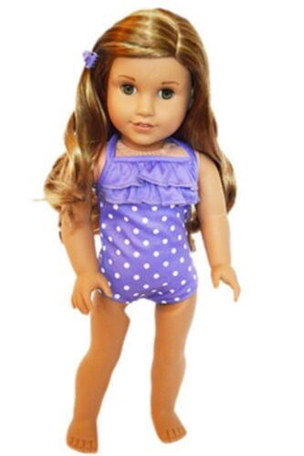 "Doll Clothes 18/"" Bathing Suit Purple White Polka Dot Fits American Girl Dolls"