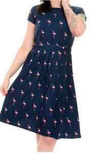Navy Dress anni Indie Flamingo Tea Retro Womens Style Fly Vintage Stampa rosa con '50 Run wZXEfE7q8x