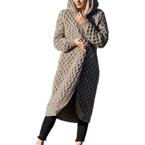 Femmes À capuche Tricoté Pulls Cardigan Coat Manches longues Hivers Manteaux 04