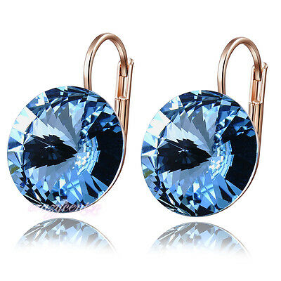 fashion blue crystal earring drop rose gold plated wedding jewelry E894
