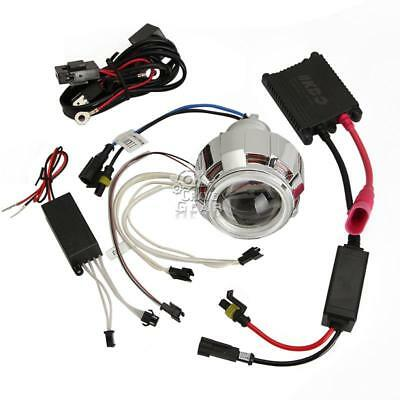 "2"" MOTORCYCLE BI-XENON HID KIT Angel Devil Eye Headlight Projector Len+ballast"