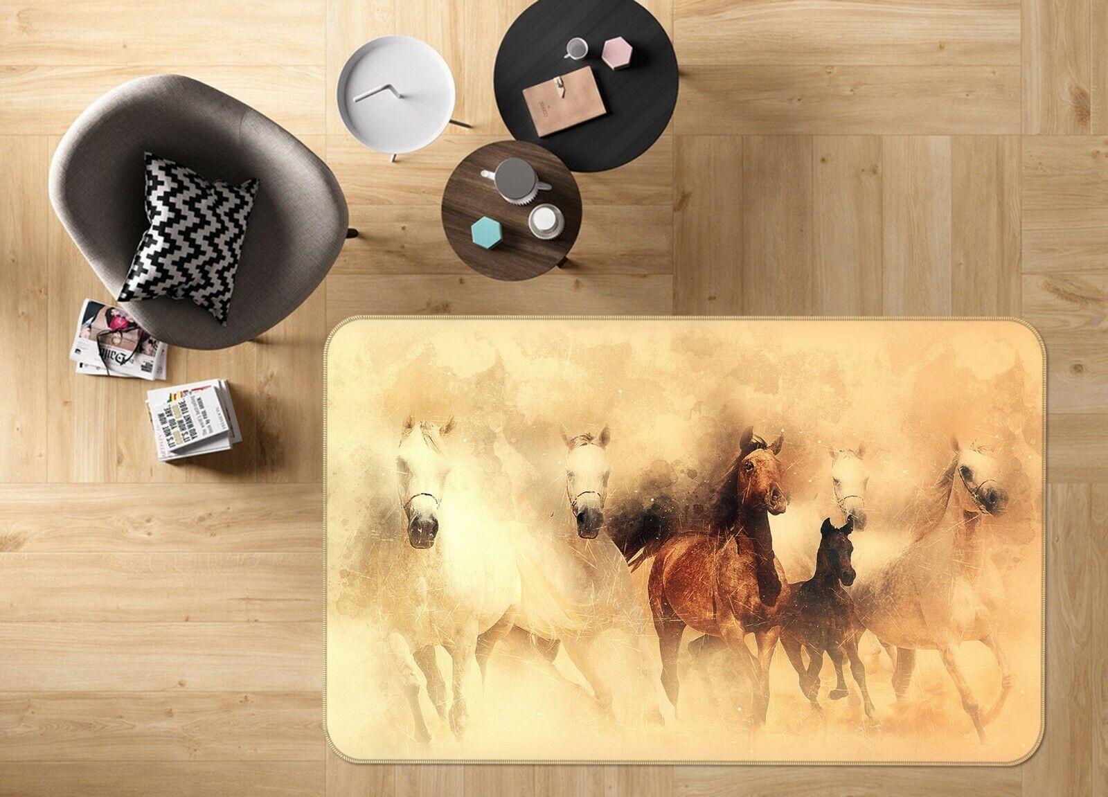 3D dipinto cavallo C076 Animale tappetino antiscivolo tappeto rossoondo elegante Tappeto Wendy