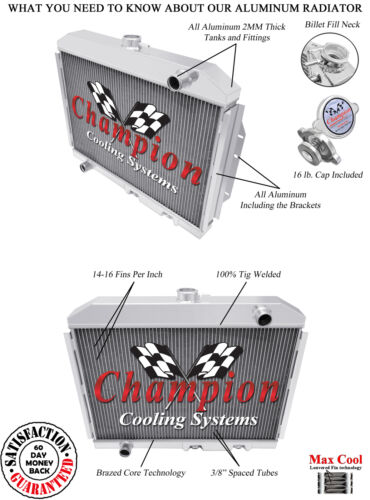 1972-1976 AMC Gremlin Radiator Polished Aluminum 3 Row Champion Radiator #403