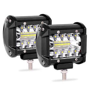 2pcs 4inch 200W CREE LED Work Light Bar Pods Flush Mount Combo Driving Lamp 12V
