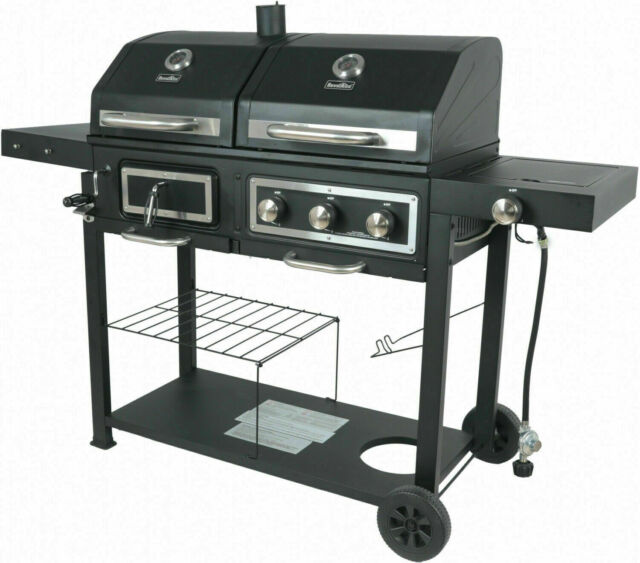 Dual Fuel Gas Charcoal Combo Grill Cast iron Outdoor Patio ...