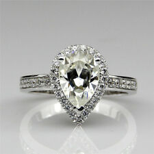 Halo Accents Pear Cut 2ct NSCD Diamond Simulant Certified Wedding Ring