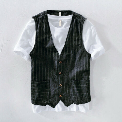 Mens Linen Look Stripe Vest Jacket Pocket Gilet Top Waistcoat Business Coat Slim
