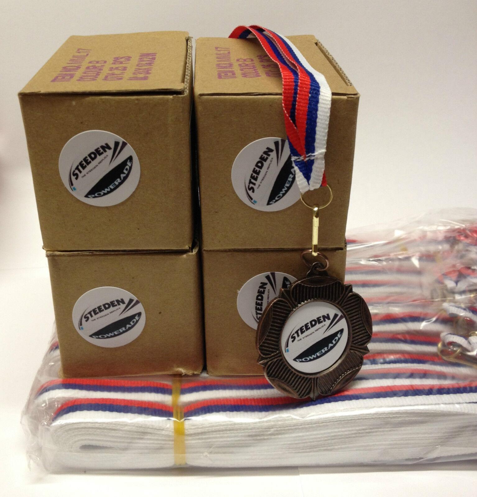 100 X Rugby Metal Medailles ^ Ribbons GRATIS P&P