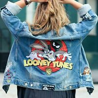 ZARA Woman BNWT Authentic Looney Tunes Blue Denim Jacket XS S M L 6840/242